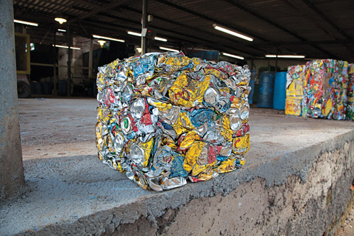 One man's trash: Compacted metal recyclables at a processing plant in Curitiba, home of the Cambio Verde Initiative where residents exchange waste for food staples. Photo: Mark Ellis
