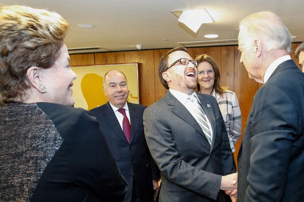 Joe Biden and Thomas Traumann meet at the Palácio do Planalto in Brasilia