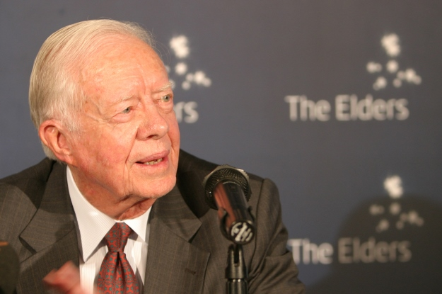 Jimmy Carter speaking at an event for The Elders