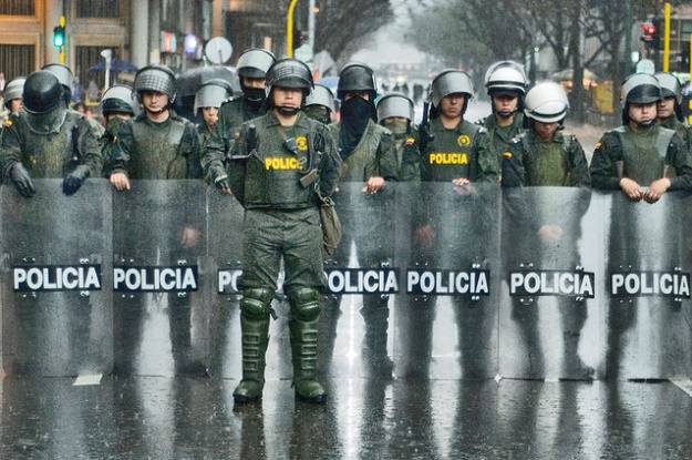 Police in Bogota during an anti-violence protest